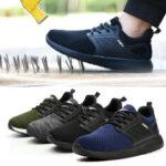 Оригинал              Мужская сетчатая защитная обувь AtreGo со стальным носком, нескользящая, дышащая, рабочая обувь для альпинизма