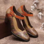 Оригинал              SOCOFY Туфли-лодочки на массивном каблуке с ремешком на щиколотке и ремешком на щиколотке с цветочным рисунком и полой пряжкой Платье Обувь