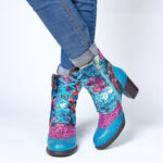Оригинал              SOCOFY с тиснением Натуральная Кожа Colorful Cloud Шаблон Модный высокий каблук со шнуровкой Ботинки