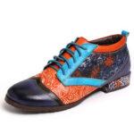 Оригинал              SOCOFY Bohemian Шаблон Colorblock Натуральная Кожа Комфортные туфли на плоской подошве с вышивкой