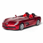 Оригинал              1:32 Alloy Mercedes BENZS SLR Pull Back Мотор Diecast Авто Модель Игрушка со звуковым освещением для коллекции подарков