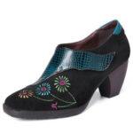 Оригинал              SOCOFY Retro Embroidery Lovely Flower Натуральная Кожа Повседневные удобные туфли без шнуровки