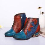 Оригинал              SOCOFY Ретро Нерегулярная строчка Натуральная Кожа Печать на низком каблуке Ботинки