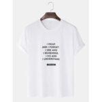 Оригинал              Мужские хлопковые лозунги с принтом сплошного цвета Свободные повседневные футболки с круглым вырезом