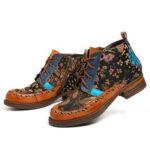 Оригинал              SOCOFY Retro Fancy Шаблон Натуральная Кожа Застежка-молния на шнуровке на плоской щиколотке Ботинки