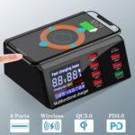 Оригинал              Bakeey 100 Вт 8-портовое USB-зарядное устройство PD PD3.0 QC3.0 Настольная зарядная станция Smart Charger 10 Вт Беспроводное зарядное устройство Зарядное устр