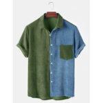 Оригинал              Banggood Designed Мужская вельветовая свободная сращивание света Практичные карманные дышащие повседневные пуговицы рубашки