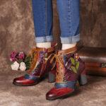 Оригинал              SOCOFY Retro Embossed Натуральная Кожа Splicing Розовый Цветочный высокий каблук до щиколотки Ботинки
