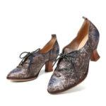 Оригинал              SOCOFY Retro High Heel Pointed Натуральная Кожа Туфли без шнуровки на шнуровке