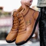 Оригинал              Мужская ручная строчка из микрофибры с нескользящей повседневной лодыжкой Ботинки