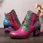 Оригинал              SOCOFY Fancy Шаблон Шитье Тисненая Натуральная Кожа Шорты на высоком каблуке с застежкой-молнией Ботинки