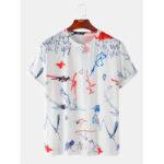 Оригинал              Мужские футболки с надписью «Graffiti» Свободные легкие повседневные круглые футболки Шея