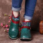 Оригинал              SOCOFY Retro Womens Green Embossed Натуральная Кожа Soft Плоская молния на щиколотке Ботинки