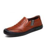 Оригинал              Мужчины PU Кожа Anti-Collision Toe Non Slip Soft Единственный бизнес повседневная обувь