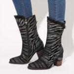 Оригинал              SOCOFY Ladies Lace Дизайн Metal Color Zebra Шаблон Остроконечный носок на молнии на каблуке Western Ботинки