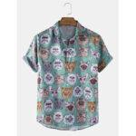 Оригинал              Banggood Designed Mens Funny Multi Кот Повседневные рубашки с коротким рукавом с принтом мультфильмов