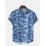 Оригинал              Мужские рубашки с короткими рукавами и принтом в виде бабочки