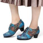 Оригинал              SOCOFY Retro Embosted Flower Folkways Cloth Шаблон Комфортные туфли-лодочки на шнуровке