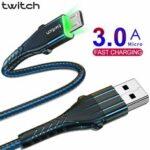 Оригинал              Twitch Micro USB кабель для передачи данных 3A Линия быстрой зарядки для Huawei Vivo Xiaomi ASUS ZenFone Макс. Pro (M1) ZB602KL