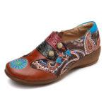 Оригинал              SOCOFY Folkways Retro Шаблон Натуральная Кожа Комфортные туфли на плоской подошве с боковой молнией Soft