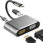 Оригинал              Bakeey 4 в 1 Адаптер док-станции концентратора USB-C с 4K HDMI HD Дисплей/1080P VGA / USB 3.0 / 87 Вт USB-C PD3.0 Питание для смартфона Ноутбук для Samsung Galaxy 20 для iPad Pro 202