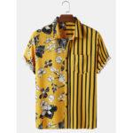 Оригинал              Мужские рубашки с цветочным принтом и полосатым принтом Banggood