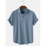 Оригинал              Мужские хлопковые дышащие однотонные рубашки с коротким рукавом