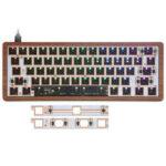 Оригинал              [Деревянная версия Чехол] Индивидуальный GK61 с возможностью горячей замены 60% RGB Клавиатура Индивидуальный Набор Проводной Bluetooth Двухрежимн