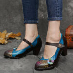 Оригинал              SOCOFY Кожаные туфли-лодочки на массивном каблуке с цветочным рисунком в стиле ретро в стиле ретро Mary Jane Платье Обувь