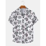 Оригинал              Мужские повседневные рубашки с коротким рукавом с цветочным принтом Revere Collar