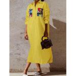 Оригинал              Женщины Повседневный отложным воротником с принтом Карманы Макси рубашки пэчворк Платье