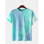 Оригинал              Хлопок Tie-Dye Round Шея Повседневные футболки с коротким рукавом