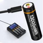 Оригинал              1 шт. BESTON Type-C прямая зарядка 3500 мАч / 5000 мАч 18650/21700 Батарея USB литиевая аккумуляторная батарея Батарея для питания фонарика Набор