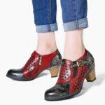 Оригинал              SOCOFY Retro Embossed Натуральная Кожа Туфли-лодочки на массивном каблуке с полой молнией