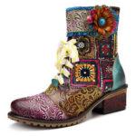 Оригинал              SOCOFY Cowgirl Casual Натуральная Кожа Молния с цветочным рисунком и квадратный каблук до щиколотки Ботинки