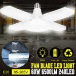Оригинал              E26 Деформируемые с четырьмя лезвиями LED Потолочная лампа Складная гаражная мастерская для освещения мастерских Лампа AC85-265V