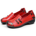 Оригинал              SOCOFY Ретро Цветы Печать Comfy Soft Подошва Повседневная Кожа Плоские Туфли