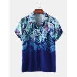 Оригинал              Мужские Растение Лист с принтом светлые повседневные рубашки с короткими рукавами Revere воротником