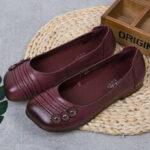 Оригинал              SOCOFY Складная кожаная вышивка бисером с цветочным принтом Comfy Soft Обувь на плоской подошве