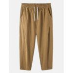 Оригинал              Мужская повседневная повседневная одежда со шнурком Banggoo, 100% хлопок, дышащий сплошной цвет, карман Брюки