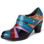 Оригинал              SOCOFY Retro Fancy Embossed Шаблон Натуральная Кожа Стильные повседневные туфли-лодочки для сращивания