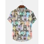 Оригинал              Banggood Desiged Mens Funny Colorful Стекло Кот мультфильм с коротким рукавом с принтом повседневные рубашки