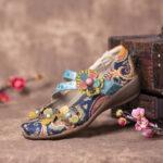 Оригинал              SOCOFY Ретро сращивание цветов Шаблон Плоские Крюк Loop Кожаная обувь