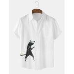 Оригинал              Рубашки с коротким рукавом с принтом из хлопка Mens Funny Кот