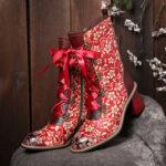 Оригинал              SOCOFY Ladies Красный цветочный принт с боковой молнией на шнуровке Fashion Ботинки