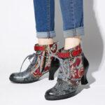 Оригинал              SOCOFY Embossed Splicing Tribal Шаблон Застежка-молния на шнуровке Деко на теплой подкладке до щиколотки Ботинки