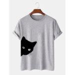 Оригинал              Мужская 100% хлопок милый мультфильм Кот с принтом дышащая повседневная футболка с коротким рукавом