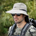Оригинал              Мужчины UV Защита На открытом воздухе Рыбалка Шапка Крышка для лица Широкий козырек Регулируемый дышащий ковш Шапка