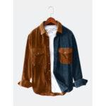 Оригинал              Banggood Designed Мужская вельвет цвет блока дышащий большой карман теплые рубашки с длинным рукавом повседневные