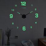 Оригинал              27/37/47 дюймов DIY Стена Часы Бесшумный Кварц Светящаяся стена Ночная Часыс